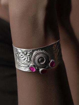 Pink Crystal Silver Cuff