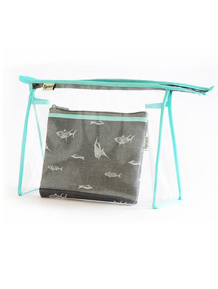 Blue-Grey Fish Printed Cotton and Transparent Pouch (Set of 2)