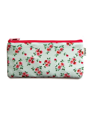 White-Red Floral Printed Cotton Pouch