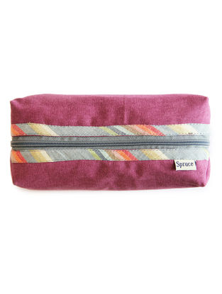 Purple Handcrafted Cotton Canvas Pouch