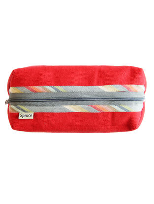 Red Handcrafted Cotton Canvas Pouch