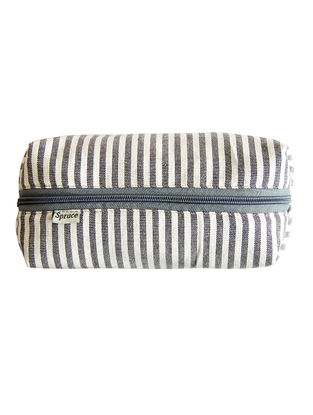 Grey-White Striped Cotton Canvas Pouch