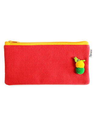 Red Handcrafted Cotton Pouch