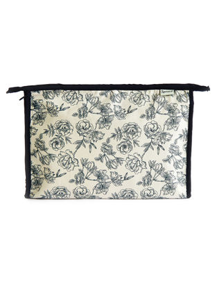 White-Blue Floral Printed Cotton Pouch