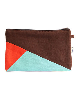 Brown-Orange Handcrafted Cotton Pouch