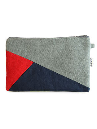Grey-Blue Handcrafted Cotton Pouch