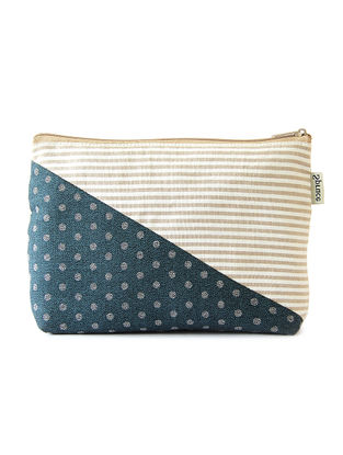Cream-Blue Handcrafted Cotton Pouch
