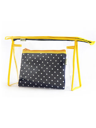 Blue Polka Dots Cotton and Transparent Pouch ( Set of 2)