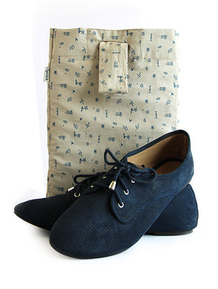 Beige-Blue Printed Cotton Shoe Bag