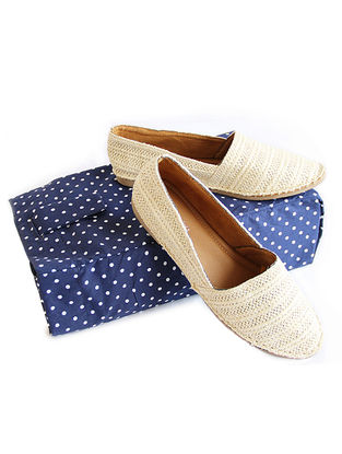 Blue Dots Printed Cotton Shoe Bag