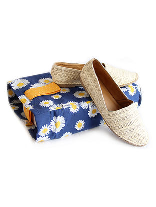 Blue-Orange Floral Printed Cotton Shoe Bag