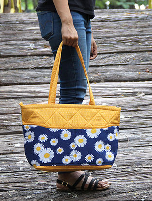 Blue-Orange Floral Printed Cotton Tote