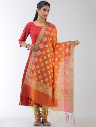 Orange-Red Benarasi Art Silk-Cotton Dupatta