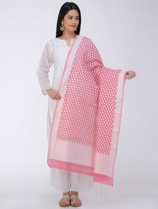 Pink-White Benarasi Art Silk-Cotton Dupatta