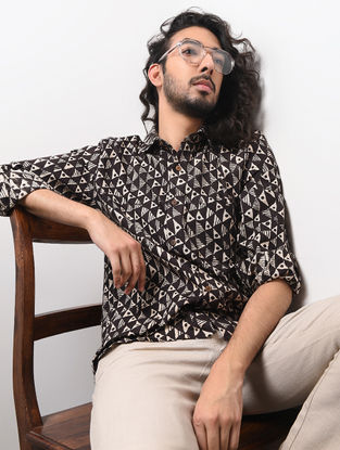 Black-Beige Hand Block-printed Cotton Khadi Full Sleeve Shirt