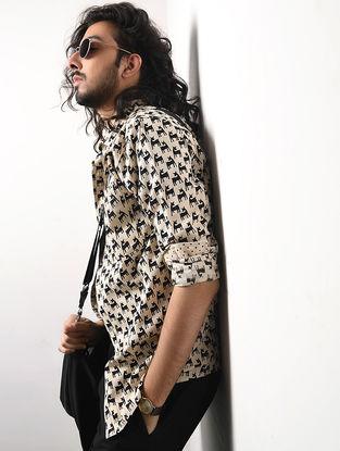 Black-Beige Hand Block-printed Cotton Khadi Full Sleeve Shirt