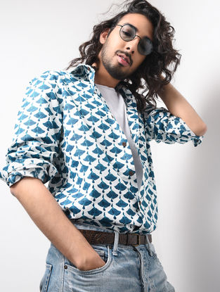 Blue-White Hand Block-printed Cotton Khadi Full Sleeve Shirt