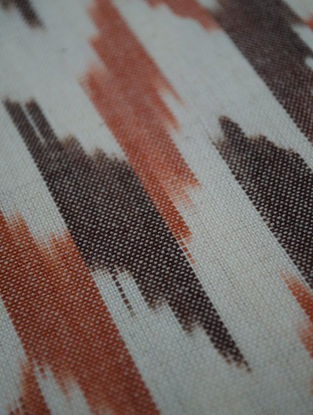 Rust-Brown Cotton Ikat Broken Twill Fabric