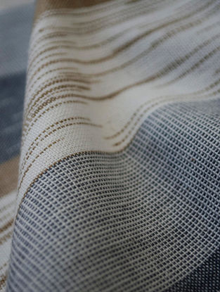 Grey-Beige Cotton Ikat Textured Stripe Fabric