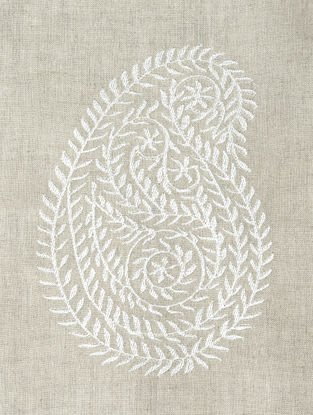 Natural Leaf Paisley Embroidered Linen Fabric