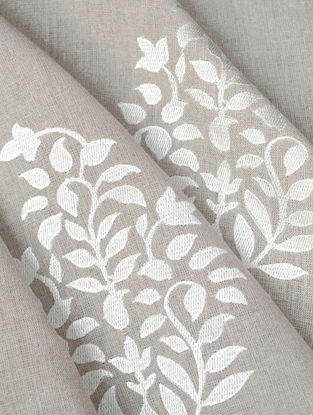 Natural Floral Paisley Embroidered Linen Fabric