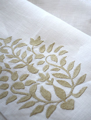 White Floral Paisley Embroidered Linen Fabric