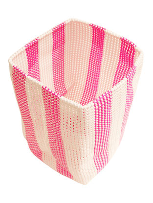 Rose Striped Hand Knotted Plastic Utility Basket