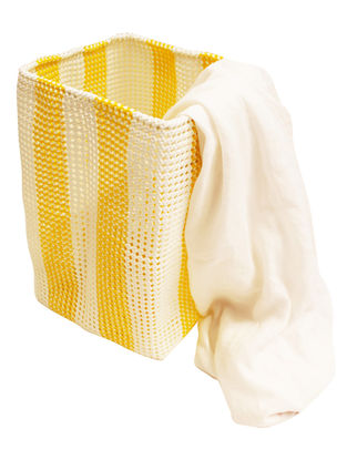 Yellow Striped Hand Knotted Plastic Utility Basket