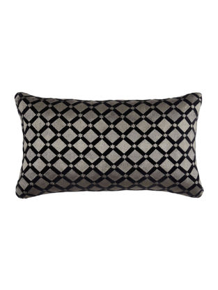 Black Embroided Velvet Cushion Cover 20.5in X 12.5in