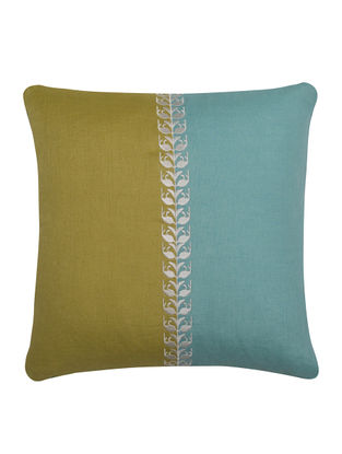Olive-Sky Blue Neel Kamal Cushion Cover 16in x 16in