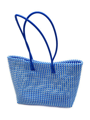 Blue-White Plastic Shopping Bag