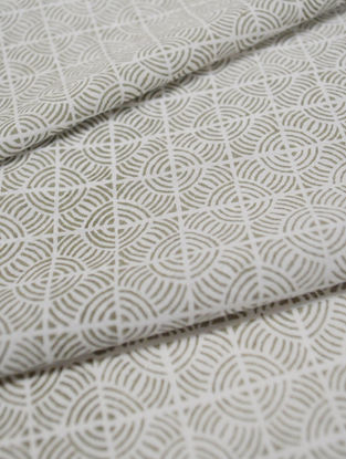 Fog Cotton Circular Grid Design Fabric by YAMINI