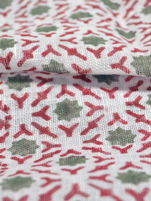 Red Linen Broken Lattice Design Fabric by YAMINI