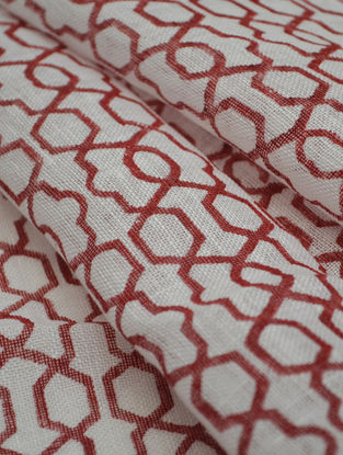Red Linen Fretwork Design Fabric by YAMINI