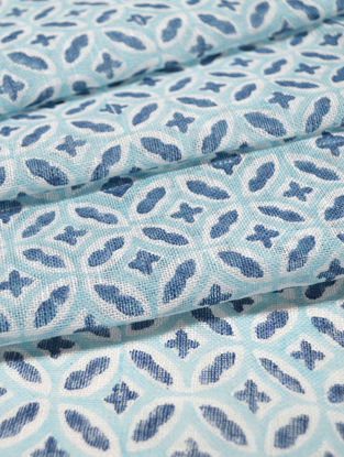 Blue Linen Kaleidoscope Design Fabric by YAMINI