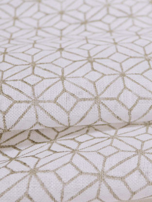 Grey Linen Lattice Design Fabric by YAMINI