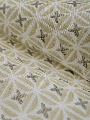 Straw Linen Petal Design Fabric by YAMINI
