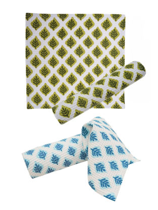 Leaf Pattern Face Towel-Set of 4