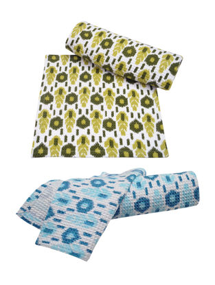 Ikat Pattern Face Towel Set of 4