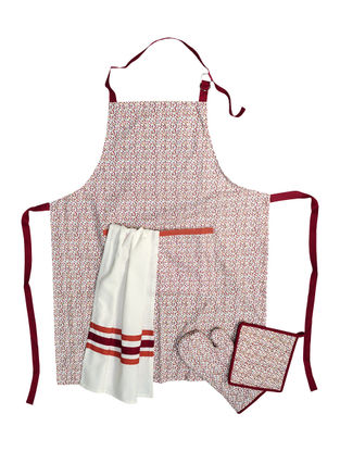 Printed & Plain Apron-Set of 3