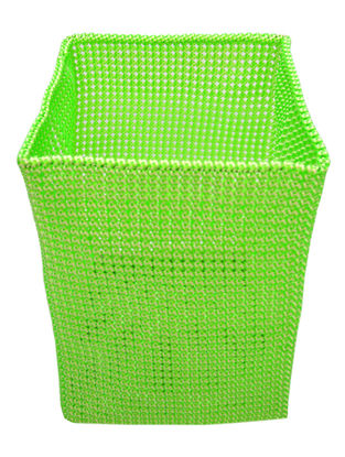 Green-White Hand Knotted Plastic Utility Basket 15.5in x  13in