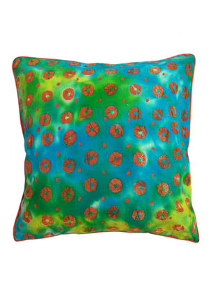 Green-Orange Pebbles Batik Cushion Cover 16in x 16in