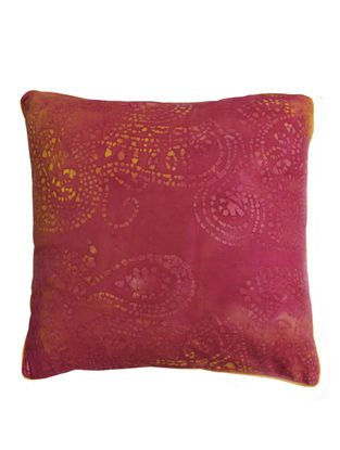Pink-Orange Paisley Batik Cushion Cover 16in x 16in