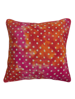 Pink-Orange Square Blocks Batik Cushion Cover 16in x 16in