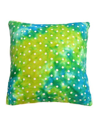 Green Polka Dots Batik Cushion Cover 16in x 16in