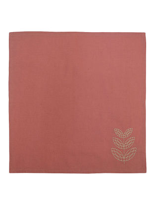 Orange Cotton Linen Fez Border Embroidered Dinner Napkins (Set of 6) 16in x 16in