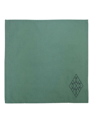 Green Cotton Linen Nova Trellis Border Embroidered Dinner Napkins (Set of 6) 16in x 16in