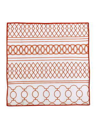 Red-White Cotton Ornate Stripe Pattern Screen Printed Cocktail Napkins (Set of 6) 10in x 10in