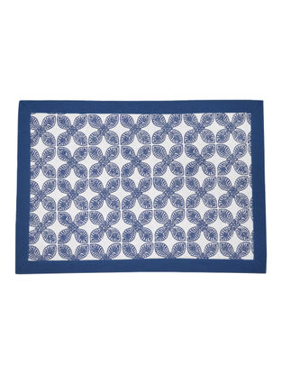 Navy-White Cotton Four Petal Flower Design Screen Printed with solid Border Placemates (Set of 6) 19in x 13in
