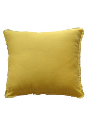 Yellow-Grey Solid with Fringes Linen Cushion Cover 18in x 18in